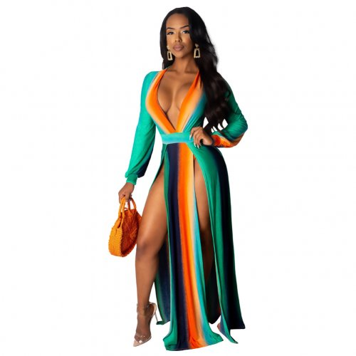 Sexy Multicolor High Waist Long Sleeves Split Dress X9165-2