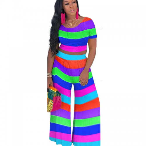 Blue Multicolor Striped Print T Shrts Wide Leg Pants Sets MTY6197
