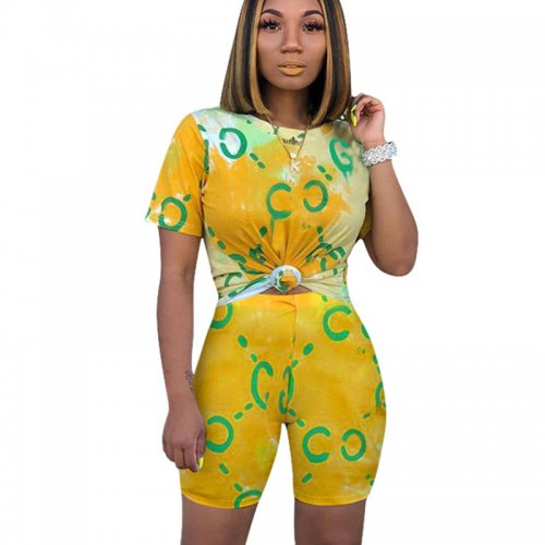 Yellow Colorful Print T Shirts Midi Shorts Summer Sets CM596