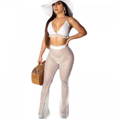 White Crochet Bar Tops See Through Pants Beach Sets AMM8141