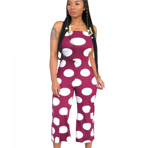 Purple Polka Dot Strapy Wide Leg Jumpsuits X9004