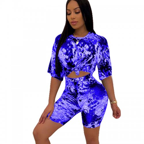 Blue Summer T Shirts Midi Shorts Two Pieces Sets HHM6139