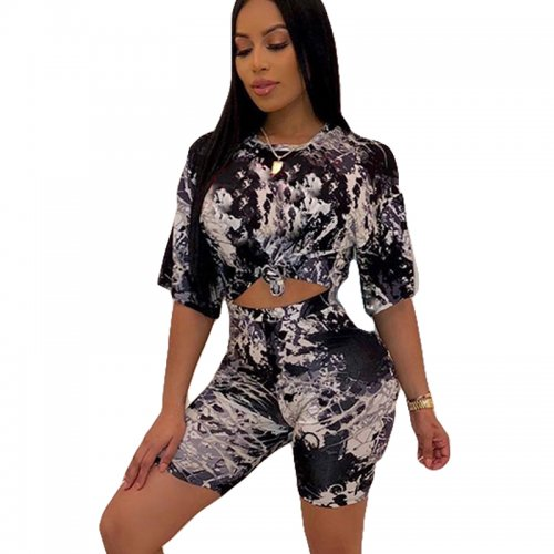 Black Summer T Shirts Midi Shorts Two Pieces Sets HHM6139