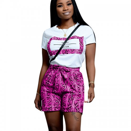 Purple Casual T Shirts Print Shorts Two Pieces Sets CM598