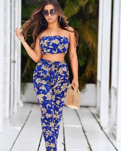 Summer Floral Print Bandeau Tops Casual Pants Sets QQ5033