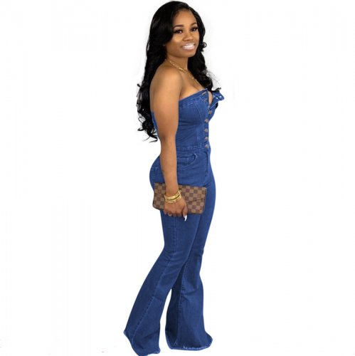Fashion Casual Blue Strapless Jeans Jumpsuits QZ3281