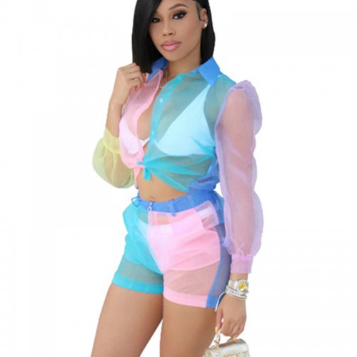 Color Block See Through Mesh Two Pieces Sets QZ3282
