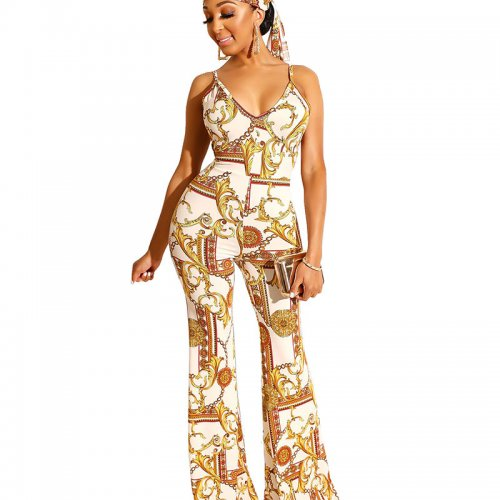 White Euramerican Chain Printing Condole Belt V Collar Jumpsuit ZS084-2