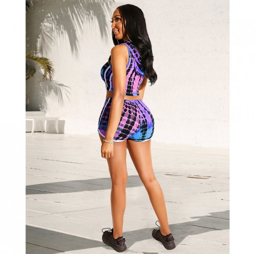 Purple Colorful Print Hoodie Crop Tops Sports Shorts Sets GL6175