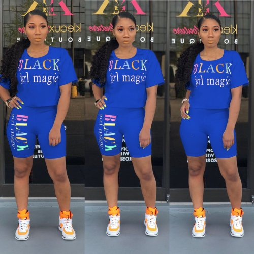 Blue Letter Print Casual T Shirts Midi Shorts Summer Sets N9136