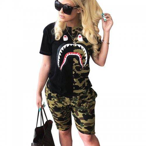 Camouflage Fashion Print T Shirts Midi Shorts Sports Outfits N9107