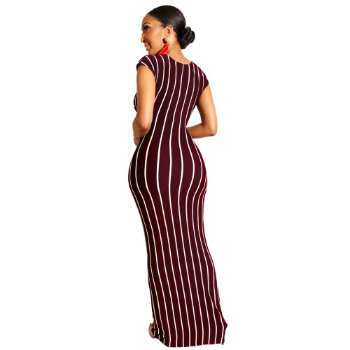 Wine Red Sexy Elegant Striped Long Dress GL6177