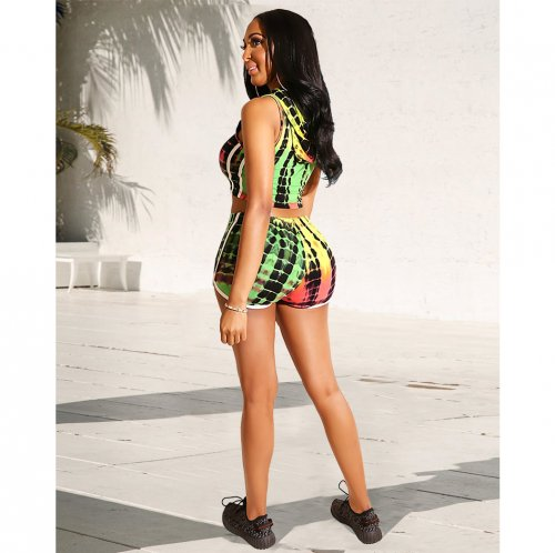 Green Colorful Print Hoodie Crop Tops Sports Shorts Sets GL6175
