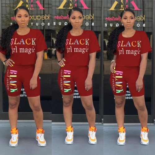 Wine Red Letter Print Casual T Shirts Midi Shorts Summer Sets N9136
