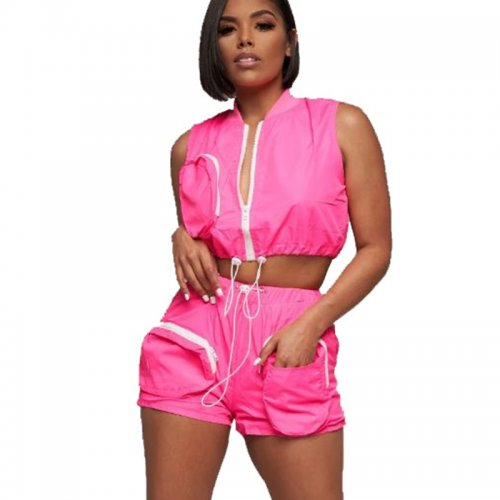 Rose Red Sleeveless Crop Tops Elastic Shorts Women Sets N9139