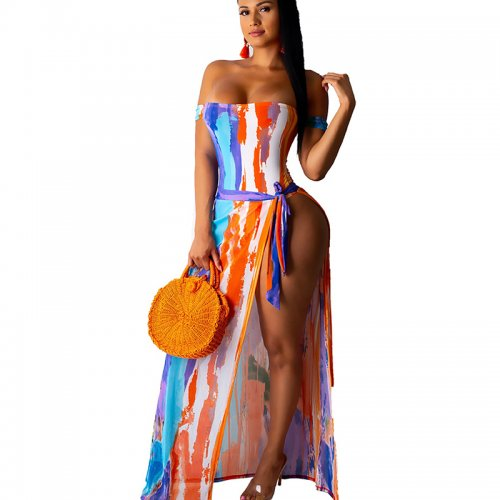 Sexy Strapless Print One Piece Swimsuits With Cover Ups MDO9062