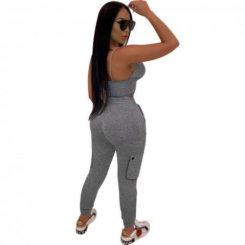 Grey Fashion Sexy Bra Tops Skinny Pants Sports Sets R6215