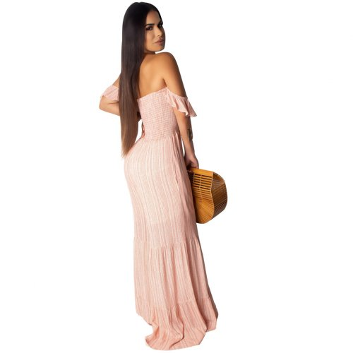Pink Off Shoulder Casual Wide Leg Loose Jumpsuits R6201