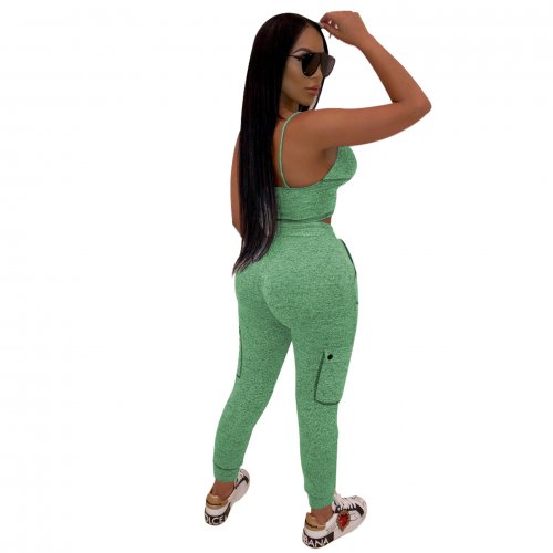 Green Fashion Sexy Bra Tops Skinny Pants Sports Sets R6215