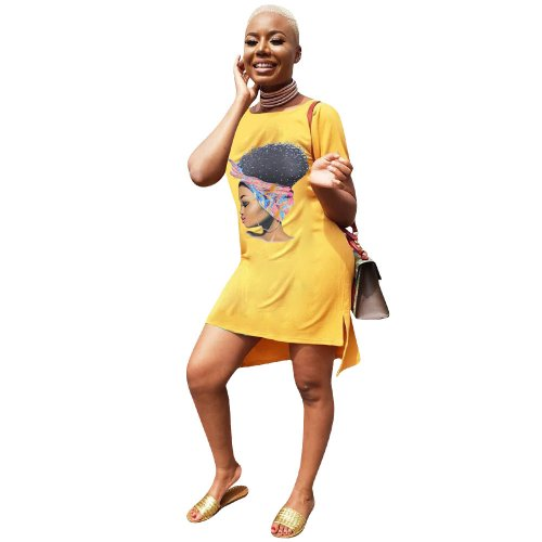 Yellow Leisurre Wear Cartoon Print Midi T Shirt Dress LM9097