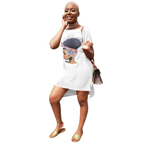 White Leisurre Wear Cartoon Print Midi T Shirt Dress LM9097