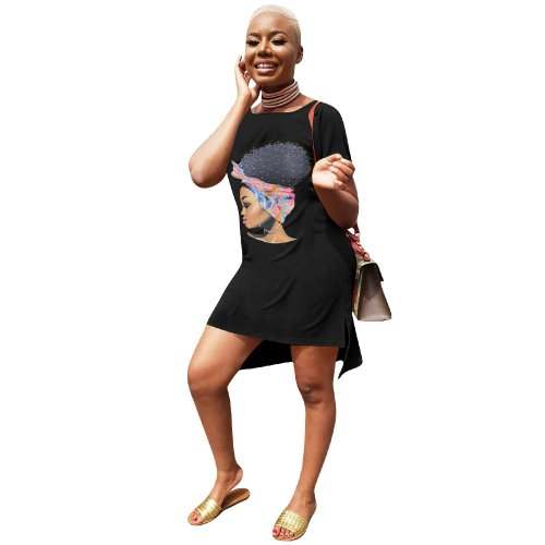 Black Leisurre Wear Cartoon Print Midi T Shirt Dress LM9097