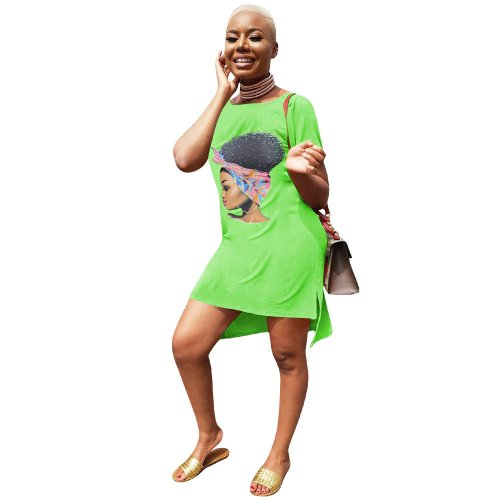 Green Leisurre Wear Cartoon Print Midi T Shirt Dress LM9097