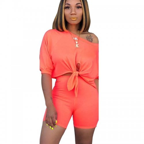 Orange Solid Casual T Shirts Midi Shorts Two Pieces Sets X9163