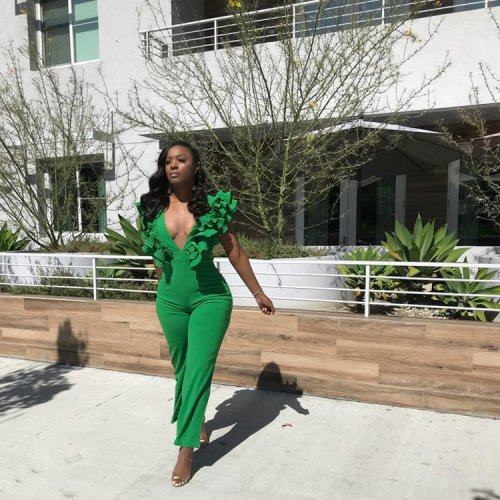 Green Sexy Deep V Neck Slim Jumpsuits F1624