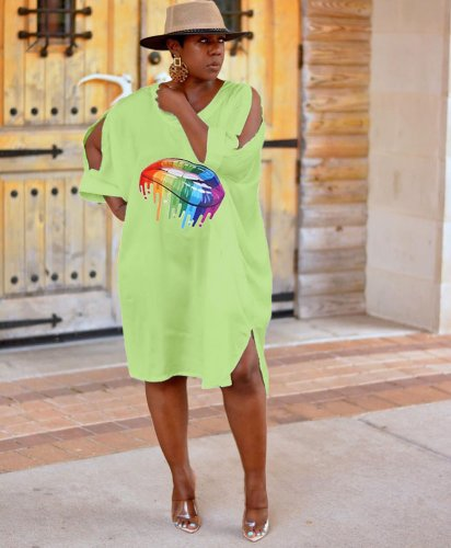 Green Casual Summer Loose Style T Shirt Dress HG5263