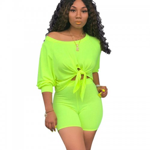 Green Solid Casual T Shirts Midi Shorts Two Pieces Sets X9163