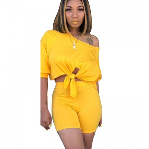 Yellow Solid Casual T Shirts Midi Shorts Two Pieces Sets X9163