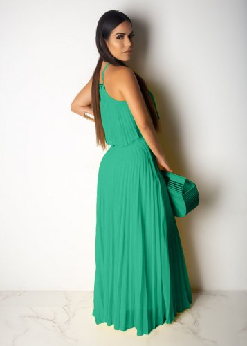 Green Strapless Pleated Long Dress D8284