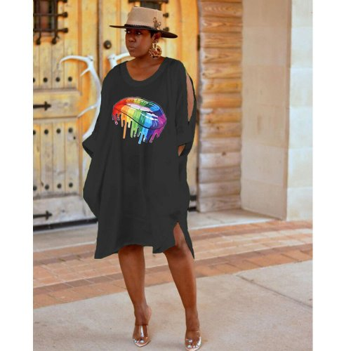 Black Casual Summer Loose Style T Shirt Dress HG5263