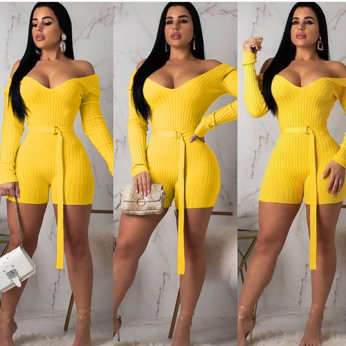 Yellow Knitting Off Shoulder Long Sleeves Romper Shorts ARM8118