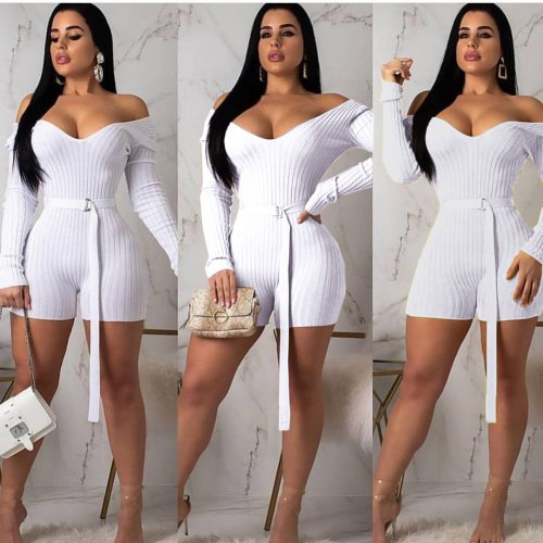 Whtie Knitting Off Shoulder Long Sleeves Romper Shorts ARM8118