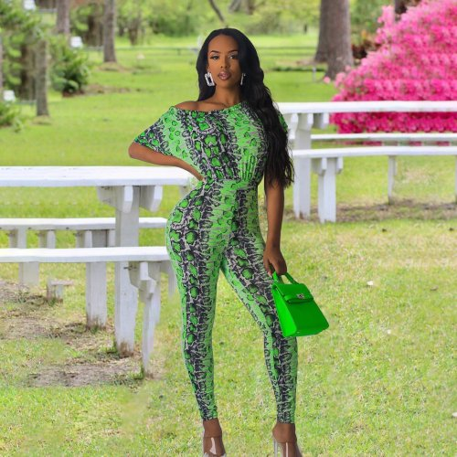 Green Snake Print Skinny Jumpsuits HY5069