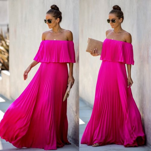 Rose Red Boho Off Shoulder Pleated Maxi Long Dress YZ1848