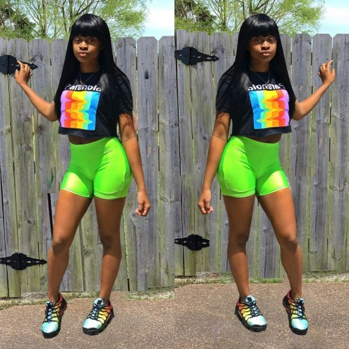 Leissure Crop Tops Fluorescent Green Shorts Sports Sets LY5053