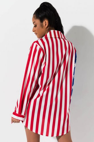 Striped And Star Print Long Sleeves Shirts YZ1844