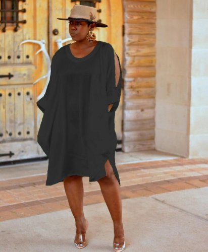 Black Oversize Loose Overlay Caual Shirt Dress MTY6177