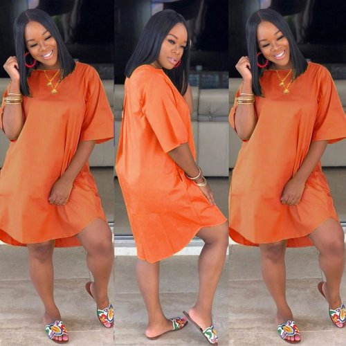 Orange Cheap Price Solid Loose Style T Shirt Dress HG5266