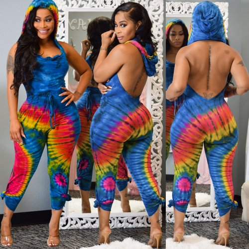 Blue Tie Dyeing Backless Hoodie Jumpsuits ALS118