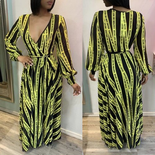 Green Letter Print Striped Long Sleeves Maxi Dress ALS124