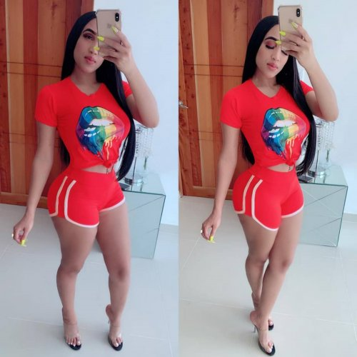 Red New Arrival Two Pieces Sports Sets W8196