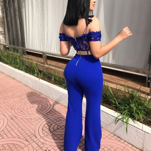 Blue Off Shoulder Lace Tops Sexy Jumpsuits W8202