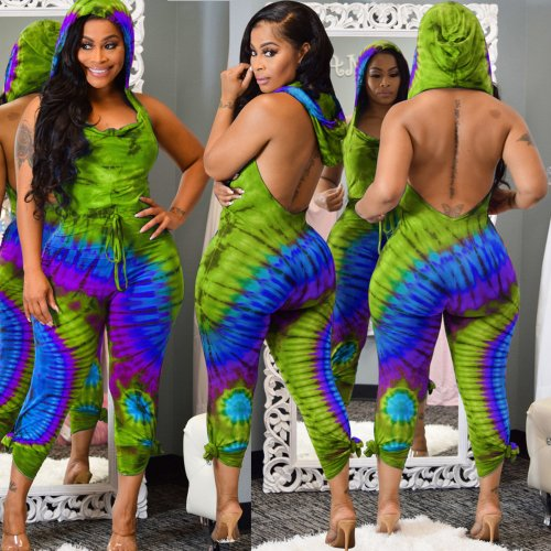 Green Tie Dyeing Backless Hoodie Jumpsuits ALS118