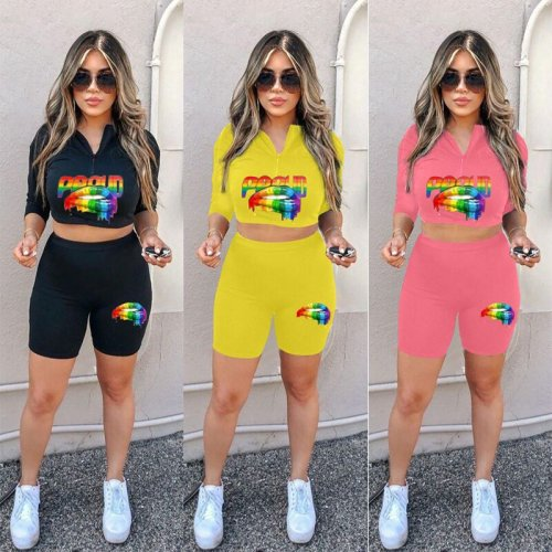 Yellow Newest Crop Tops Print Shorts Sports Sets S6166