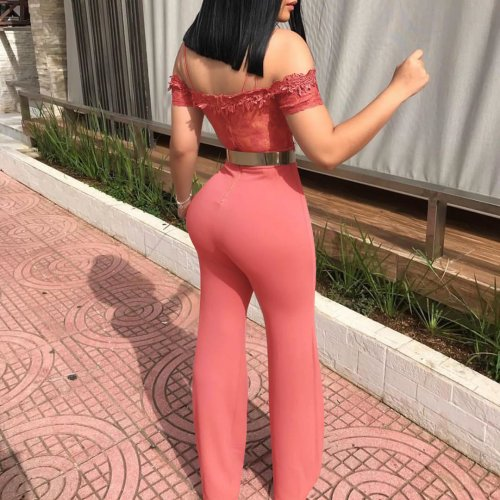 Pink Off Shoulder Lace Tops Sexy Jumpsuits W8202