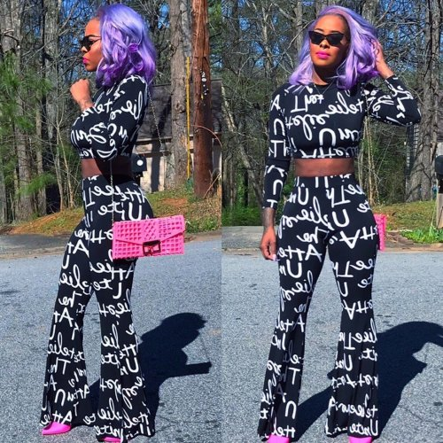 Black Letter Print Long Sleeves Tops Pants Sets YT3164